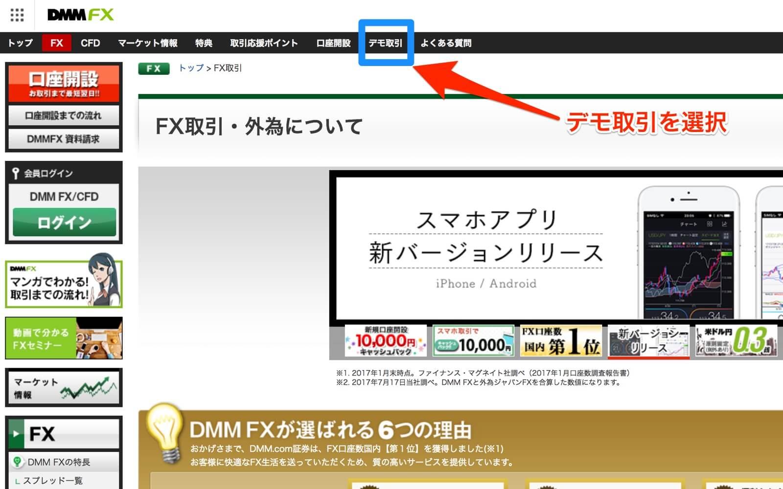 DMMFXのトップページ